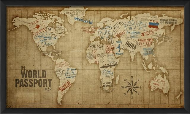 "The World Passport"" Map Print – Contemporary – Prints And Posters Inside World Map Wall Art Framed (Image 8 of 20)"