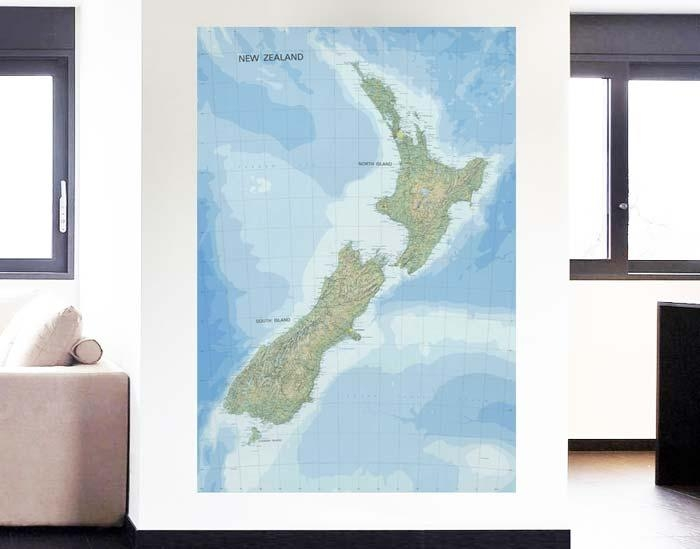 Topographic Map Of New Zealand – Your Decal Shop | Nz Designer In New Zealand Map Wall Art (View 6 of 20)