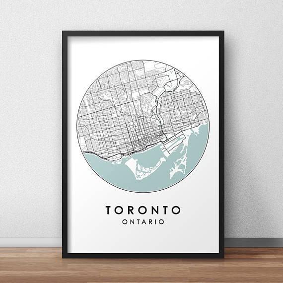 Toronto City Print Street Map Art Toronto Map Poster Throughout Toronto Map Wall Art (View 8 of 20)