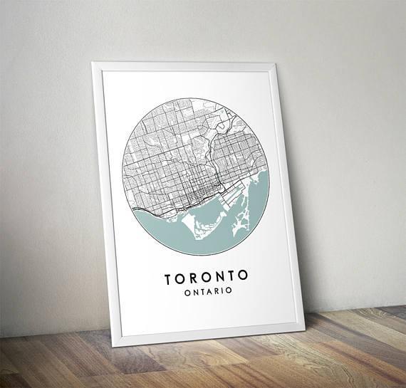 Toronto City Print Street Map Art Toronto Map Poster With Map Wall Art Toronto (Image 13 of 20)