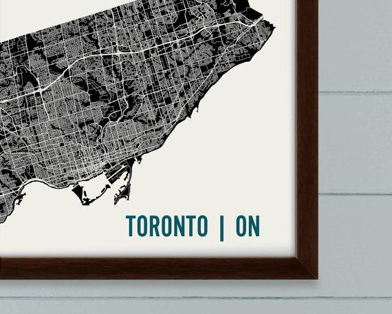 Toronto Map Art Print Toronto Print Toronto Art Print With Toronto Map Wall Art (View 12 of 20)