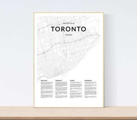 Toronto Map Print City Map Of Toronto Toronto Map Wall Art Pertaining To Map Wall Art Toronto (Image 16 of 20)