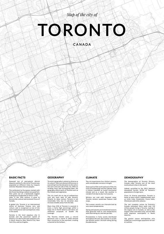 Toronto Map Print City Map Of Toronto Toronto Map Wall Art With Regard To Map Wall Art Toronto (Image 17 of 20)