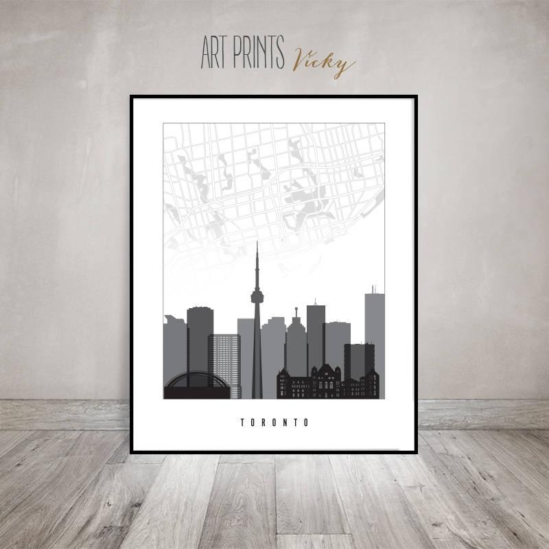 Toronto Map, Toronto Poster, Print Black And White, Toronto Pertaining To Toronto Map Wall Art (View 11 of 20)