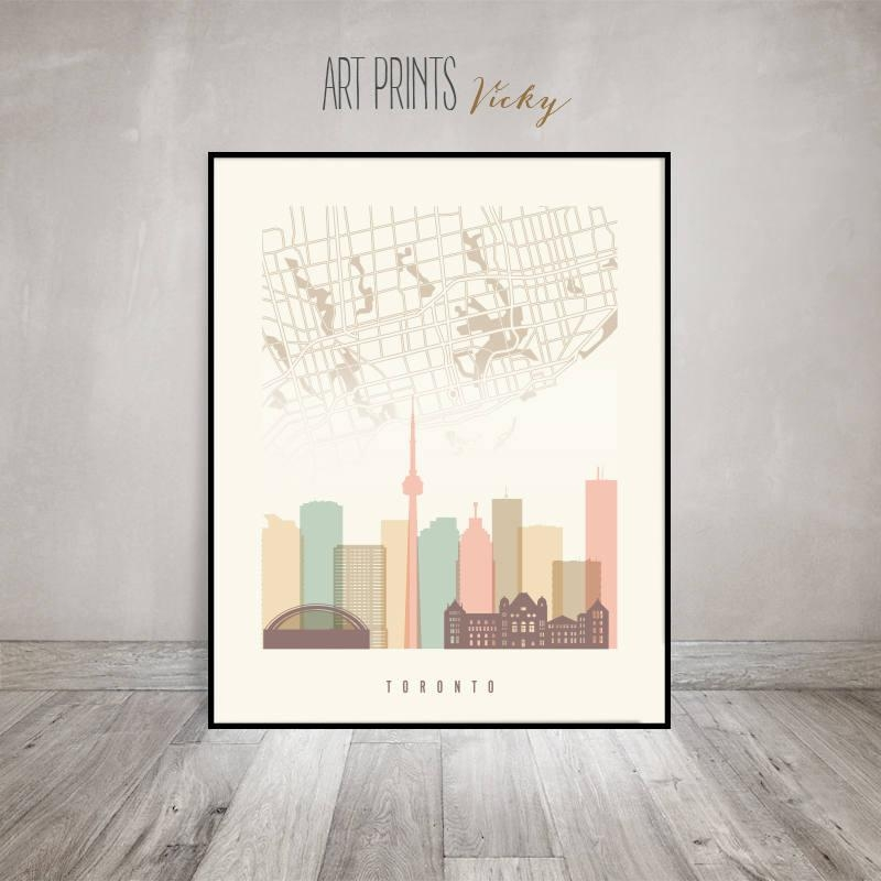 Toronto Map, Toronto Skyline Art Print, Toronto Poster, Wall Art With Toronto Map Wall Art (View 5 of 20)