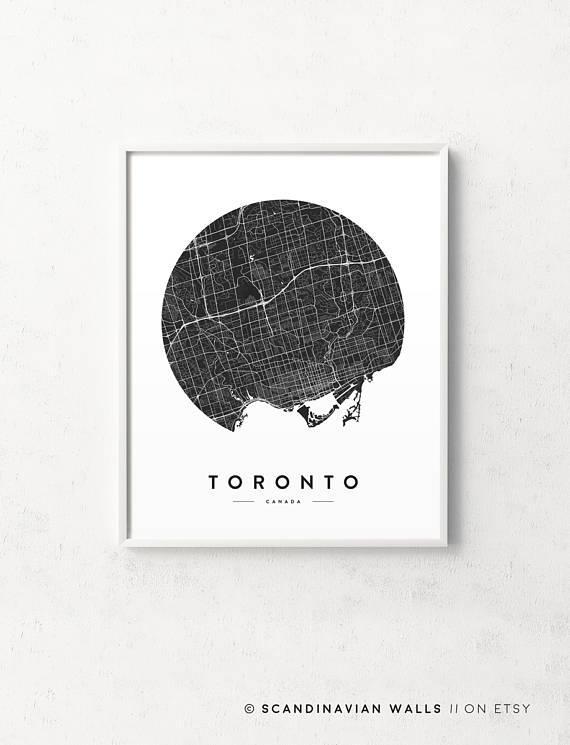 Toronto Print Toronto Map Toronto Poster Toronto City Map Intended For Map Wall Art Toronto (Image 18 of 20)
