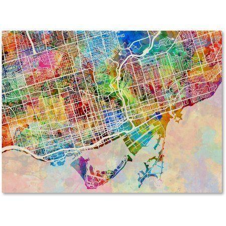Trademark Fine Art Toronto Street Map Canvas Artmichael Within Map Wall Art Toronto (Image 19 of 20)