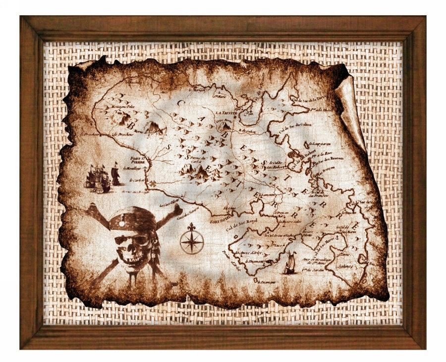 Treasure Decor Map Artpirates Of The Caribbeanpirate Throughout Treasure Map Wall Art (Image 12 of 20)