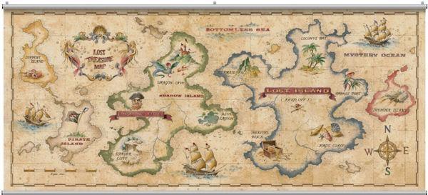 Treasure Map Antique Minute Mural Inside Treasure Map Wall Art (Image 13 of 20)