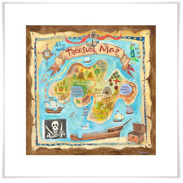 Treasure Map, Pirate Canvas Wall Art | Oopsy Daisy In Treasure Map Wall Art (Image 16 of 20)