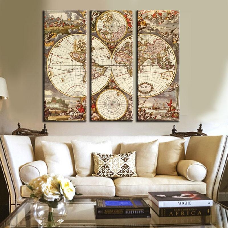 Unframed 3 Panel Vintage World Map Europe Painting Home Decor Wall For Vintage World Map Wall Art (Image 9 of 20)