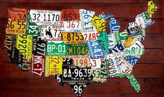 United States Map Artwork Personalized Wood Wall Art American Map Regarding License Plate Map Wall Art (View 15 of 20)