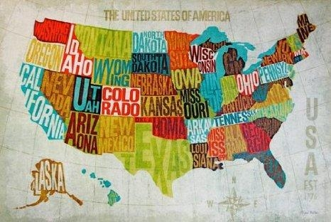 United States Map Decor Modern United States Map Wall Art Usa With Regard To Usa Map Wall Art (Photo 3 of 20)