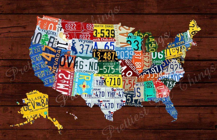 United States Map Decor United States Map Canvas Wall Art United Pertaining To License Plate Map Wall Art (Image 18 of 20)