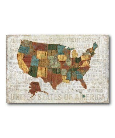 Us Map Canvas Wall Art Wooden United States Map Wall Art United Intended For State Map Wall Art (Image 13 of 20)