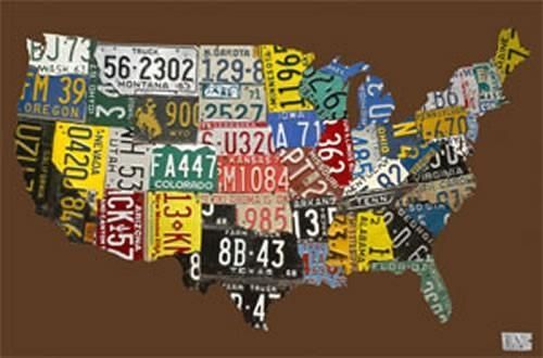 Usa License Plate Map – Chocolate Canvas Wall Artoopsy Daisy Pertaining To License Plate Map Wall Art (View 13 of 20)