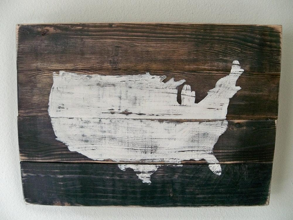 Usa Map Wood Wall Hanging On Staincustomizable With Heart Intended For Wood Map Wall Art (Image 10 of 20)