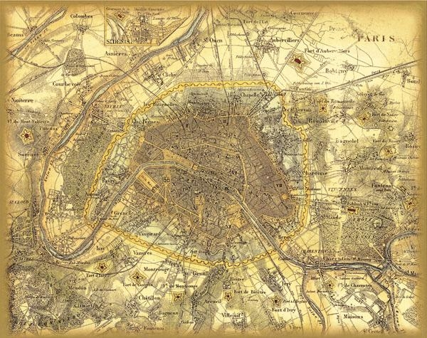 Vintage France Paris City Map Retro Oil Painting Print On Canvas Within Paris Map Wall Art (Image 17 of 20)