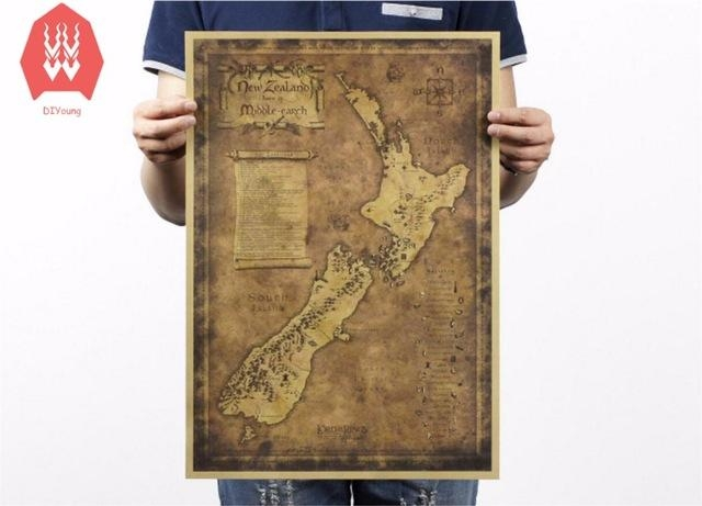 Vintage Kraft Paper Ancient New Zealand Map Poster Wall Stickers For New Zealand Map Wall Art (View 18 of 20)