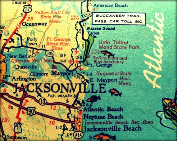 Vintage Map Jacksonville Retro Florida Photograph Print 8X10 Throughout Florida Map Wall Art (Photo 19 of 20)