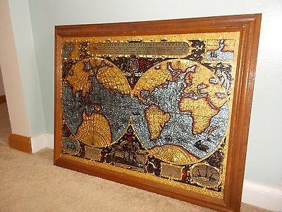 Vintage Vera Totivs Old World Nautical Map Foil Gold Leaf Mirror With Nautical Map Wall Art (View 6 of 20)