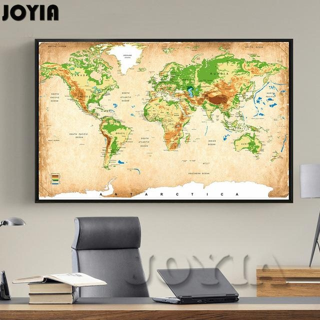 Vintage World Map Canvas Painting Retro Global Elevation Tints Pertaining To Vintage World Map Wall Art (Image 10 of 20)