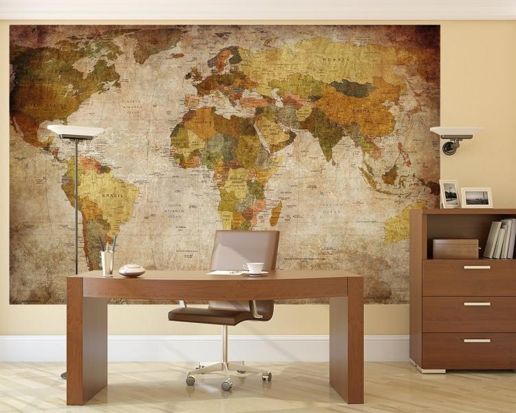 Vintage World Map Wall Mural Pertaining To Vintage World Map Wall Art (Image 12 of 20)