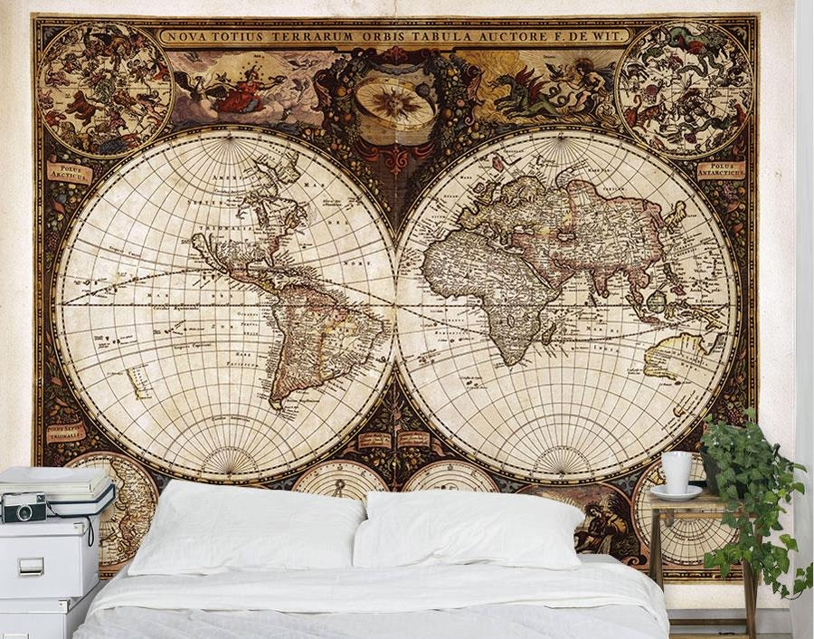 Vintage World Map Wall Mural – Your Decal Shop | Nz Designer Wall Pertaining To New Zealand Map Wall Art (Photo 14 of 20)