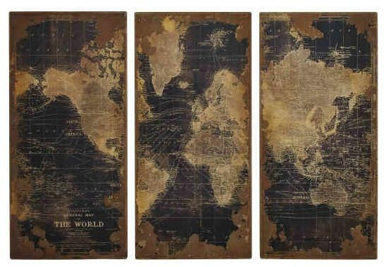 Wall Art Decor: High Design Vintage Map Wall Art Quality World For Map Wall Artwork (Photo 13 of 20)