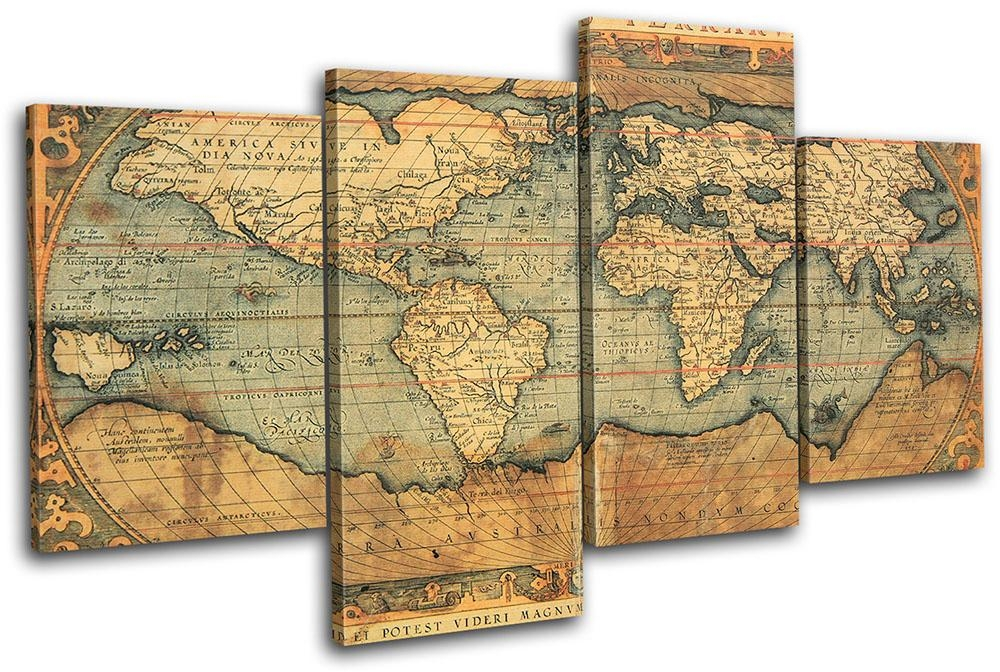Wall Art Design Ideas: Brown Simple Vintage World Map Wall Art Throughout Canvas Map Wall Art (Image 17 of 20)