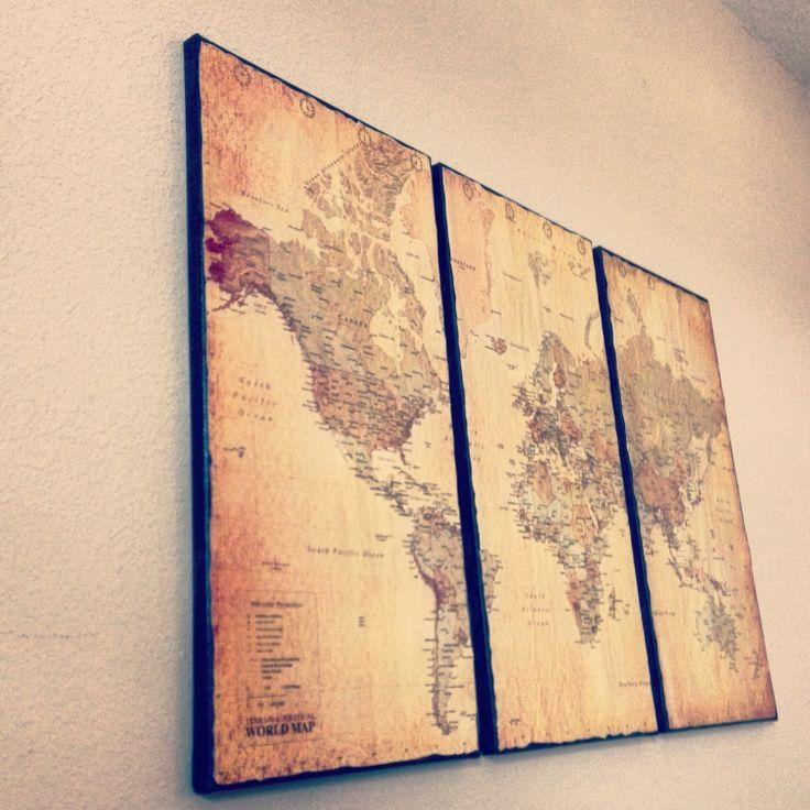 Wall Art Design Ideas: Customize Framed Vintage World Map Wall Art In Canvas Map Wall Art (Image 18 of 20)