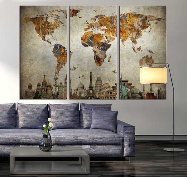 Wall Art Design: Map Wall Art Vintage World Map Canvas Print Large With Regard To Framed Map Wall Art (Image 13 of 20)