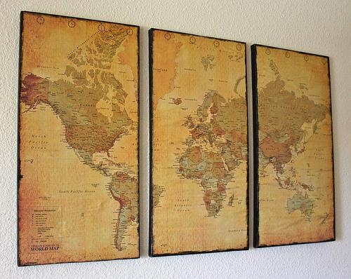 Wall Art Designs: Astounding World Decor Maps As Wall Art Vintage Intended For Framed Map Wall Art (Image 16 of 20)