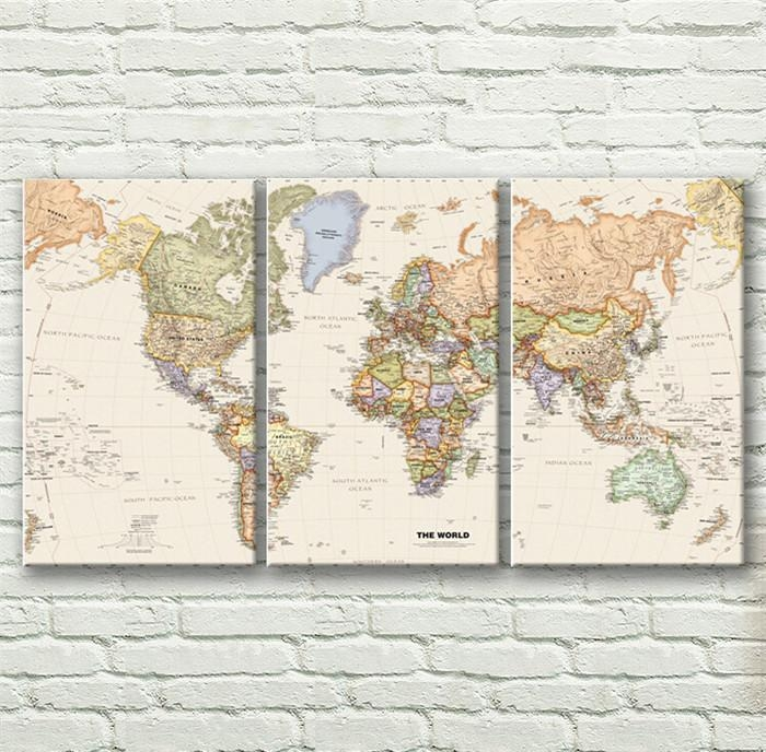 Wall Art Designs: Map Wall Art Vintage English World Map Painting For Old Map Wall Art (View 11 of 20)