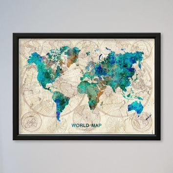 Wall Art Designs: Most Historical World Map Wall Art Framed Pertaining To World Map Wall Art Framed (Image 15 of 20)