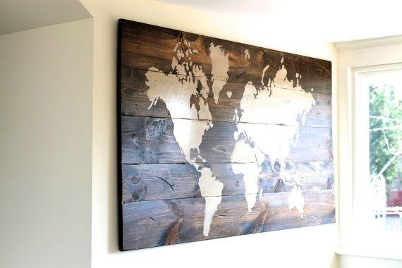Wall Art Designs Wall Art Map Of The World Decor Poster Large With Regard To Wood Map Wall Art (Image 11 of 20)