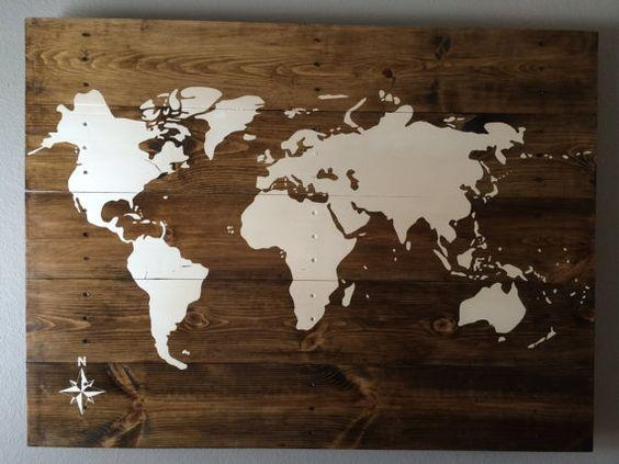 Wall Art Designs: Wooden World Map Wall Art Hand Made Hand Painted With Regard To Travel Map Wall Art (View 16 of 20)