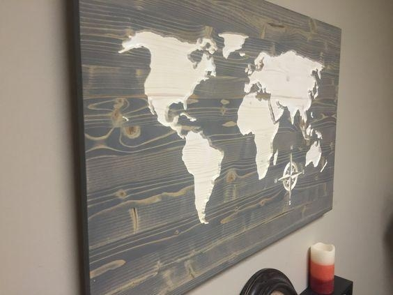 Wall Art Designs: Wooden World Map Wall Art Weathred Wood Map Wall Within Personalized Map Wall Art (View 3 of 20)