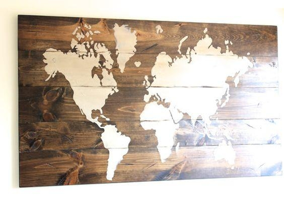 Wall Art Designs: Wooden World Map Wall Art World Map Sign Custom Pertaining To Wood Map Wall Art (Image 14 of 20)