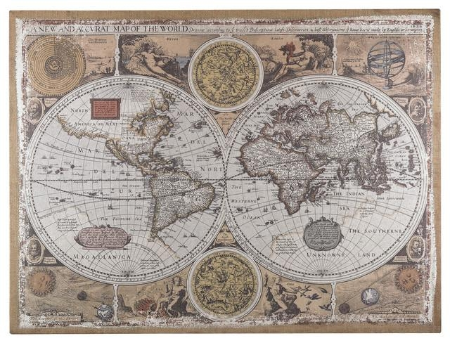 Wall Art: Gallery Of Old World Map Wall Art World Market Wall Art With Regard To Old Map Wall Art (Image 17 of 20)