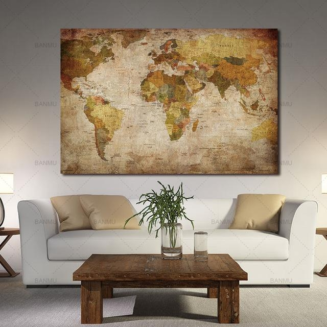 Wall Art Wall Picture For Living Room Canvas Painting 1 Panel Throughout Vintage World Map Wall Art (Image 17 of 20)