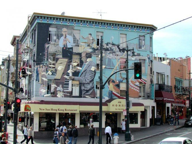Wall Arts ~ Bill Webers Jazz Mural Columbus Avenue San Francisco With San Francisco Map Wall Art (Image 18 of 20)