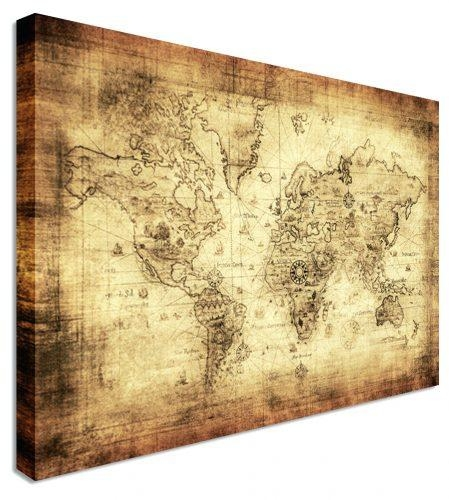 Wall Arts ~ Large Classic Vintage World Map Wall Art Brown Wooden Throughout Paris Map Wall Art (Image 19 of 20)