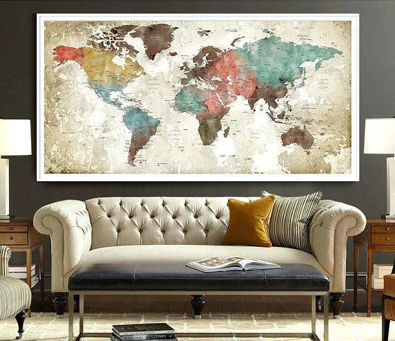 Wall Decor Maps World Map Poster Watercolor World Map Art Print Intended For Map Wall Artwork (Image 19 of 20)