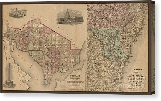 Washington Dc Map Canvas Prints (Page #5 Of 7) | Fine Art America For Washington Dc Map Wall Art (Image 13 of 20)