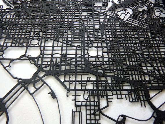 Washington Dc Map Laser Cut Map Dc Wall Art Map Of For Street Map Wall Art (Image 20 of 20)