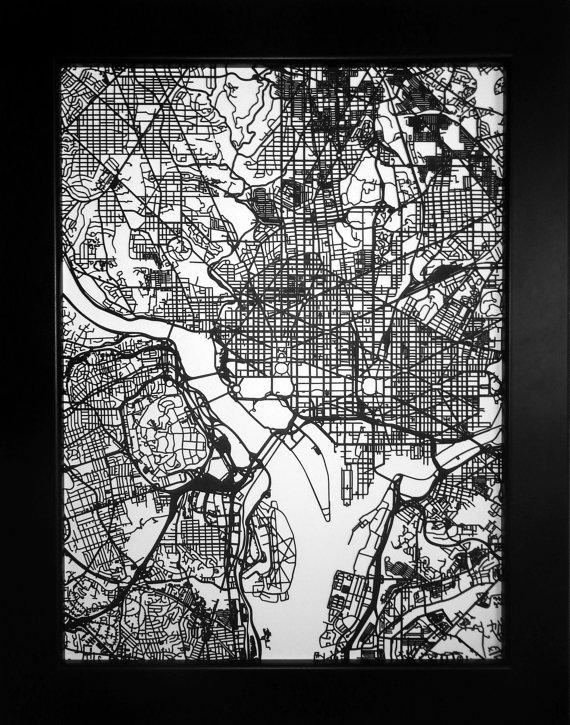 Washington Dc Map Laser Cut Map Dc Wall Art Map Of Intended For Washington Dc Map Wall Art (Image 14 of 20)