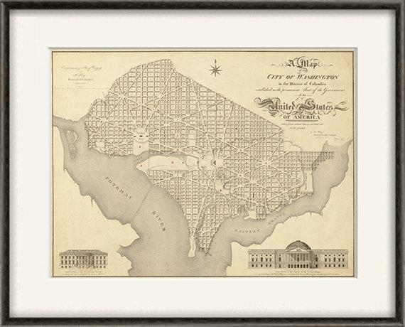 Washington Dc Map Print Map Vintage Old Maps Antique Map With Washington Dc Map Wall Art (Image 17 of 20)