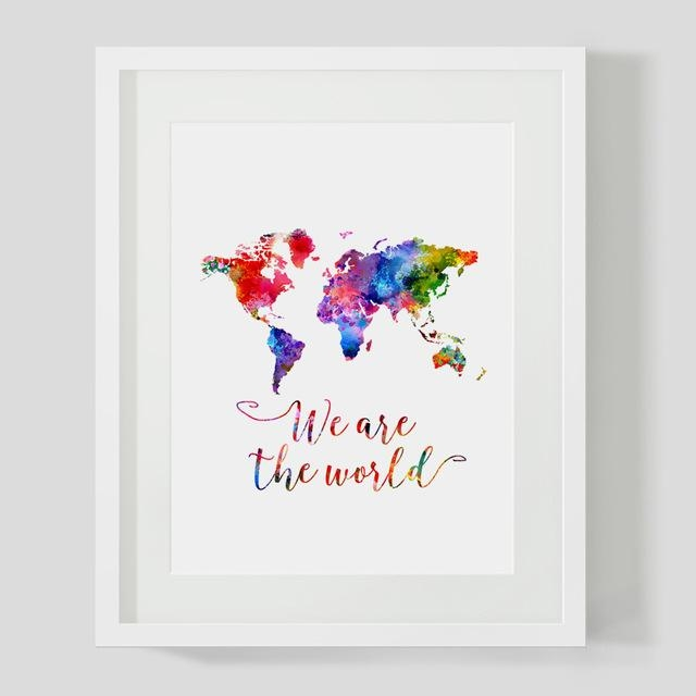Watercolor World Map Wall Art Print We Are The World Quotes Nursey In World Map Wall Art Print (Image 14 of 20)