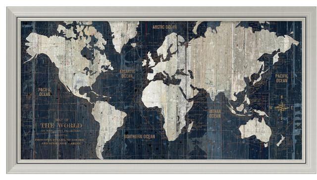 "Wild Apple Portfolio 'old World Map Blue' Framed Art Print 43""x23 Inside World Map Wall Art Framed (Image 19 of 20)"